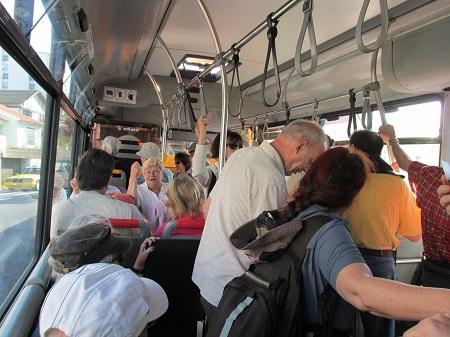 Full morning bus on Madeira, Funchal.