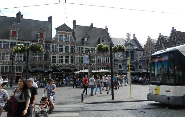 Busy street in Gent, Belgium.