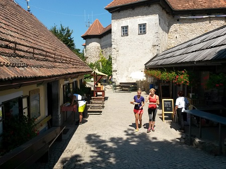 Two girls getting their lunch from restaurant at Smarna gora.