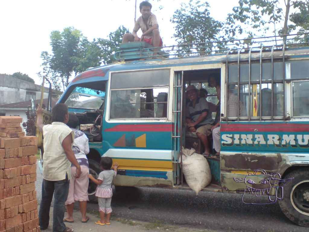bus, Indonesia, locals