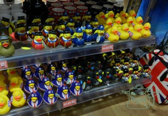 plastic british ducks in a tourist shop
