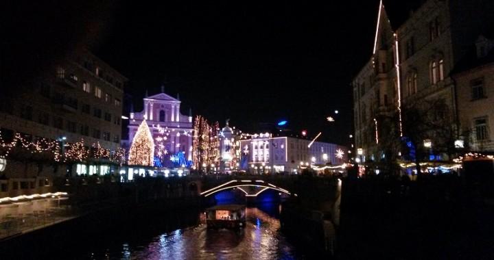 Ljubljana, Ljublanica river, boat, winter in Ljubljana