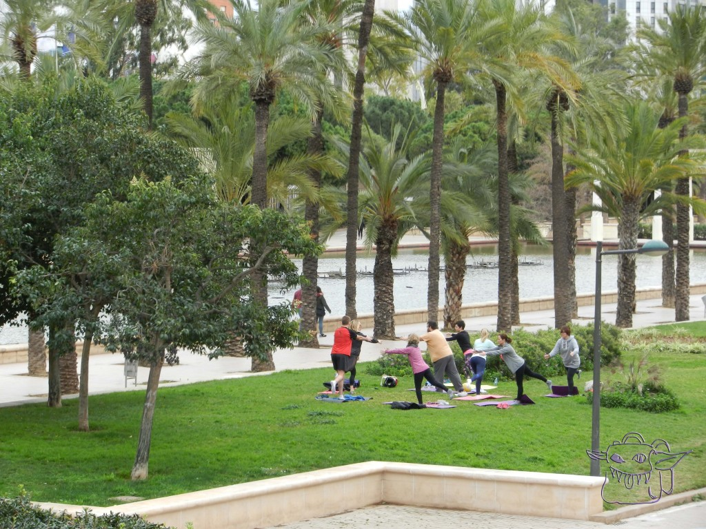 Valencia, Spain, riverbed, Turia, yoga, outdoor sports