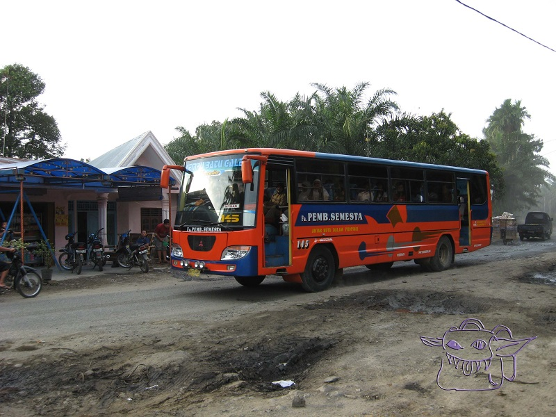 bus, Sumatra, Indonesia, dirt road